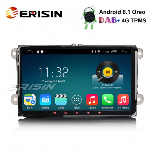"Erisin ES3318V 9"" Android 8.1 DAB+ GPS Autoradio SWC for VW Passat Polo Golf 5 Tiguan Eos Skoda"