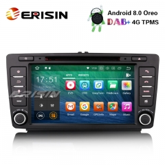 "Erisin ES7826S 8"" Android 8.0 Car Stereo DAB+ GPS Wifi DVR TPMS Bluetooth 4G DTV for SKODA OCTAVIA"