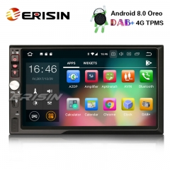 "Erisin ES7841U 7"" 8-Core Double Din Android 8.0 Car Stereo GPS Satnav WiFi DAB+ DVR DTV-IN OBD2 BT"
