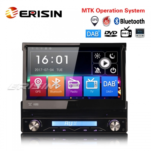 "Erisin ES6588K 7"" Detachable 1 Din DAB+Car Stereo DVD Radio USB SD GPS Bluetooth RDS DTV SatNav"