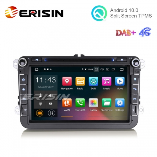 "Erisin ES5115V 8"" Android 10.0 VW Car DVD Player GPS 4G DAB+ CarPlay+ TPMS"
