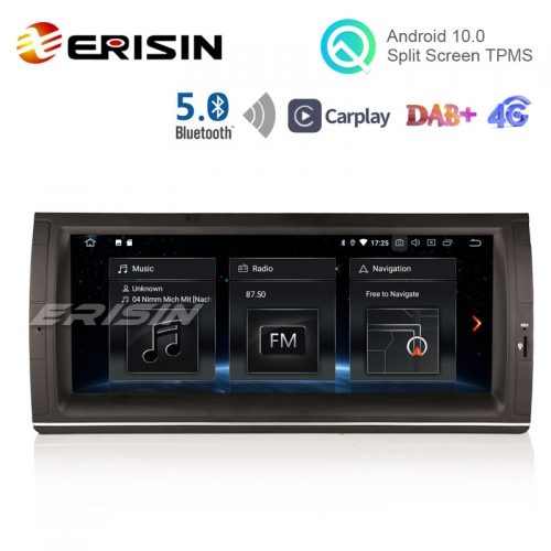 "Erisin ES5153B 10.25"" Android 10.0 Car Multimedia GPS BT5.0 Radio CarPlay TPMS DAB+ for BMW E53 E39 M5"
