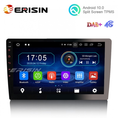 "Erisin ES5910U 1 Din 10.1"" Android 10.0 Autoradio WiFi DAB+ GPS TNT DVR Bluetooth RDS"