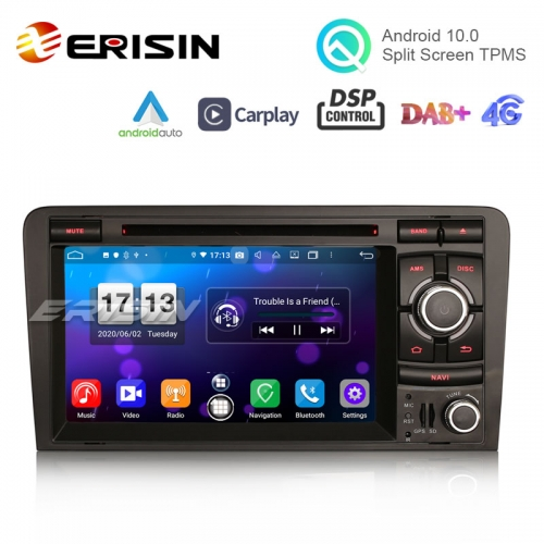 "Erisin ES8737A 7"" Octa-Core Android 10.0 Car DVD CarPlay & Auto GPS 4G DAB+ DSP for AUDI A3 S3 RS3 RNSE-PU"