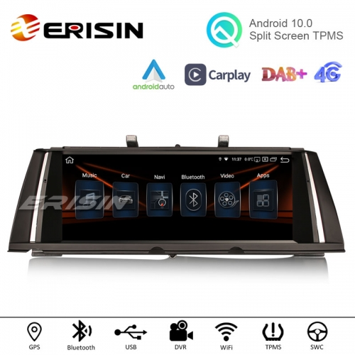 "Erisin ES2871B 10.25"" HD IPS Android 10.0 Car Stereo Carplay Android Auto Radio GPS WiFi TPMS DVR DAB for BMW 7 Series F01/F02 CIC NBT"
